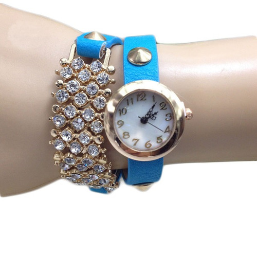 casual cristal rebites pulseira pu couro banda pulso relógio