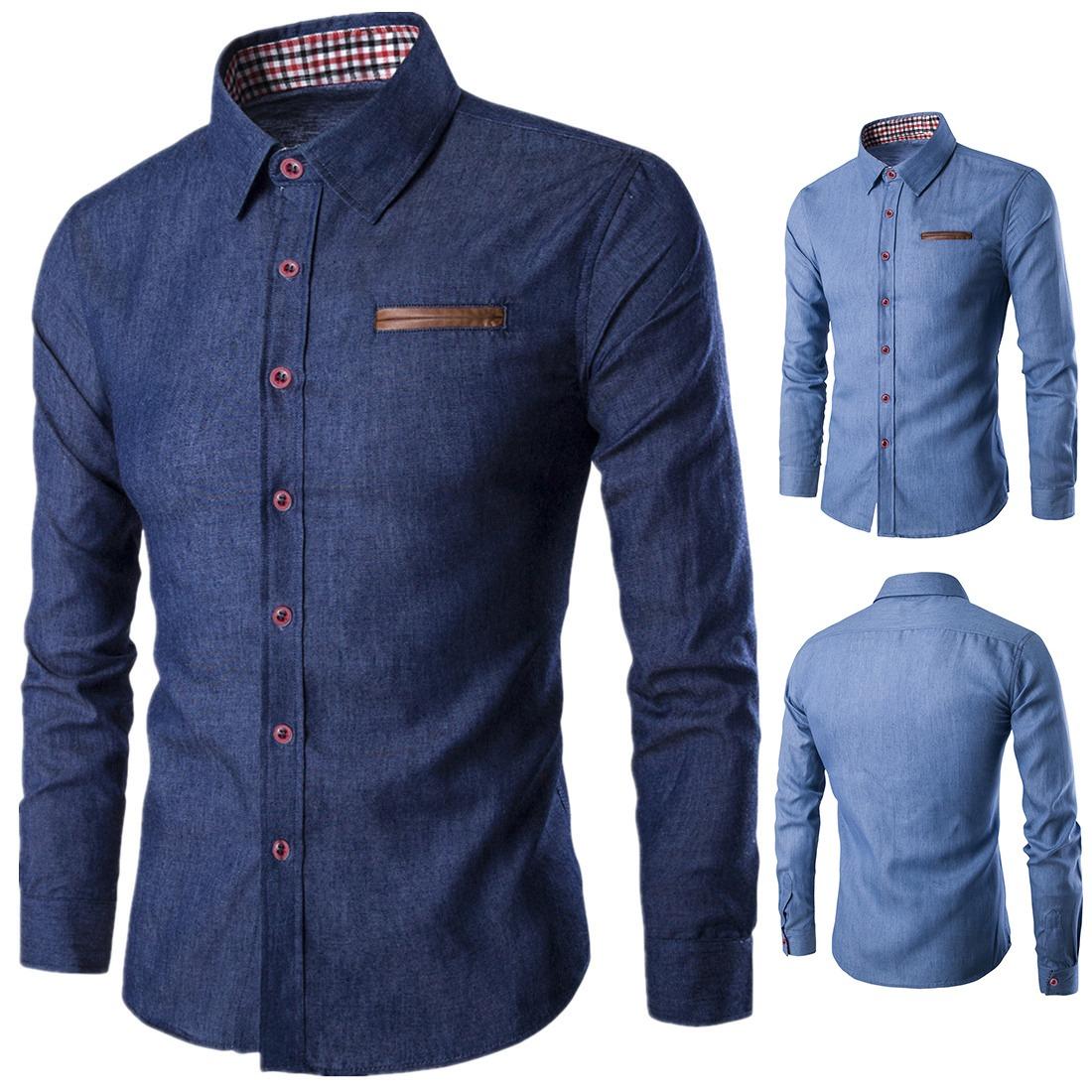 dc322ed70b53e Camisa De Vestir Casual Abotonada Para Hombre Talla Europea ...