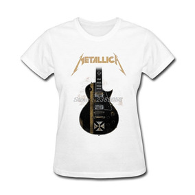 Fit Corta I Metallica Manga Camisetas Casual De Mujeres Slim mP0wvNny8O