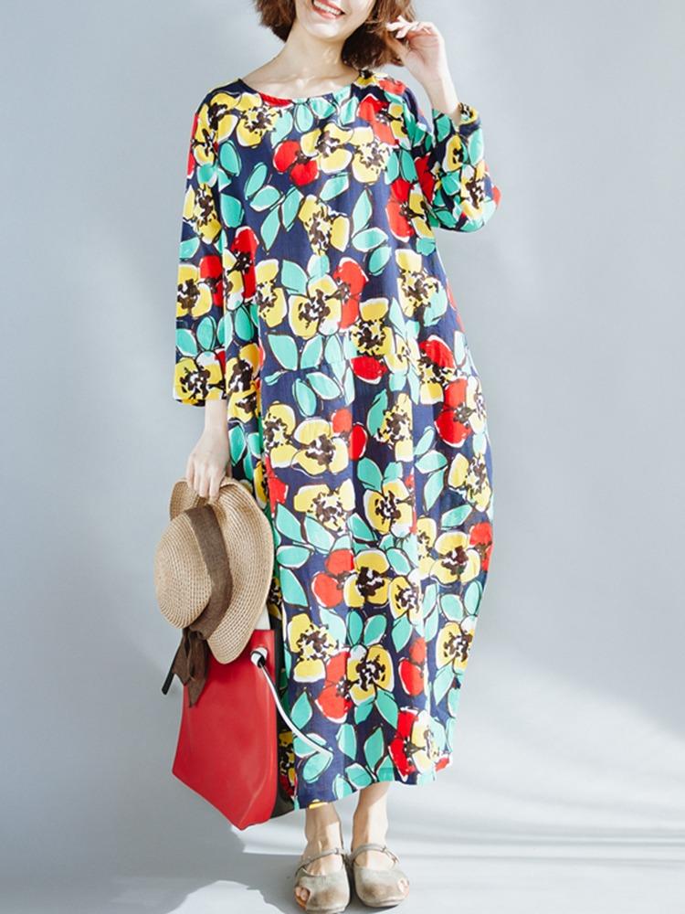 41f6fbef69a ... cuello impreso holgados vestidos para mujeres. Cargando zoom.
