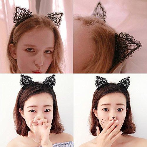 cat ears diadema lace cat diademas flores hair hoop niñas ni