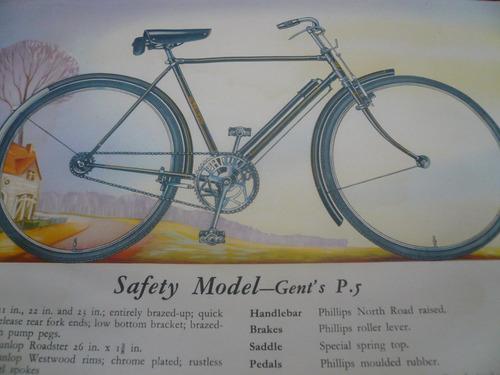 catálogo bicicleta antiga philips inglês anos 50