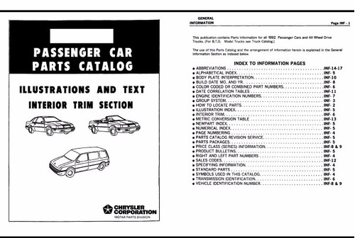 catalogo de partes chrysler fifth avenue 1990-1993