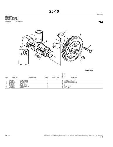 catálogo de peças 5303 e 5403 importado trator john deere