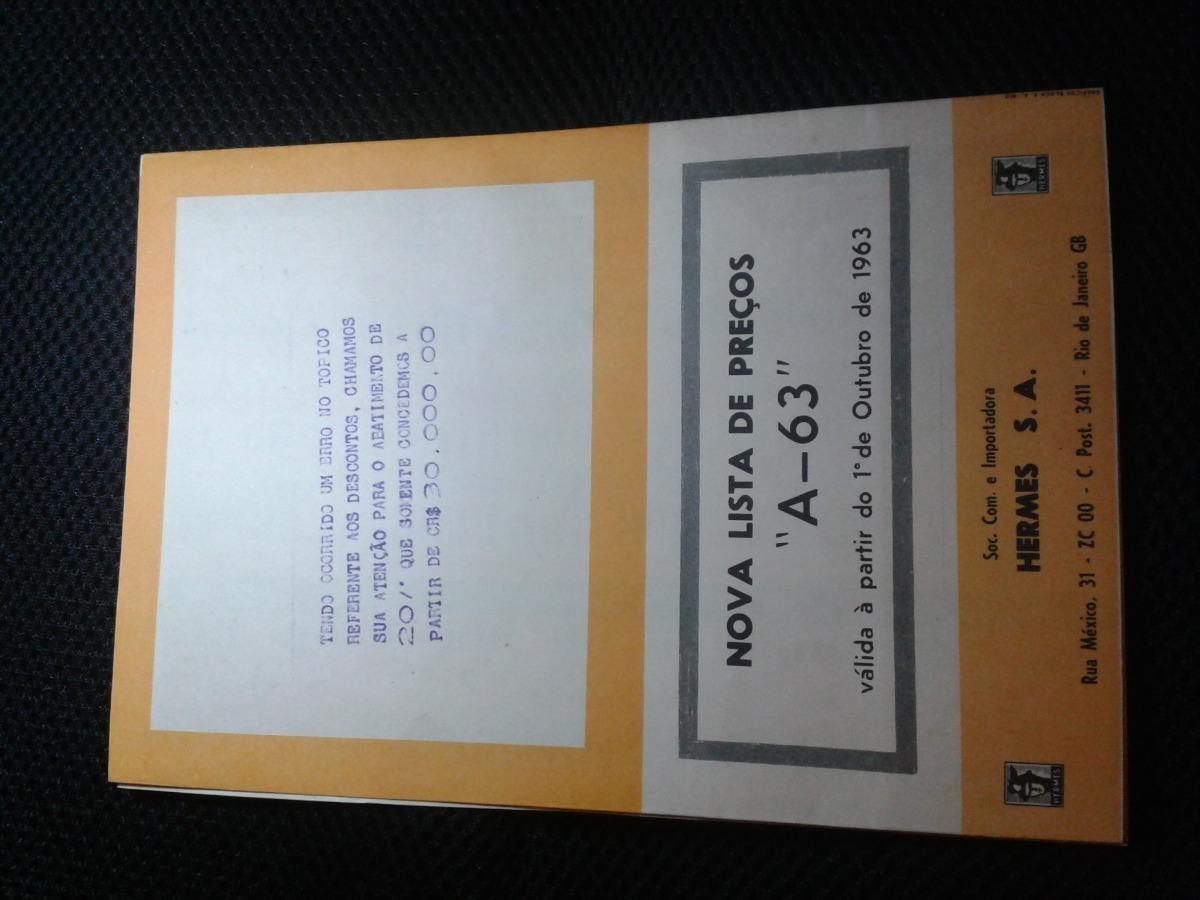 806263f70b6 Catalogo De Preços Hermes Outubro 1963 - R  20
