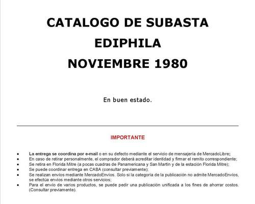 catalogo de subasta ediphila - noviembre 1980