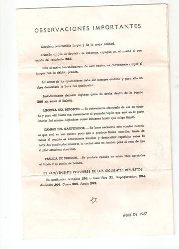 catalogo e instructivo de cocina a kerosene 1957.