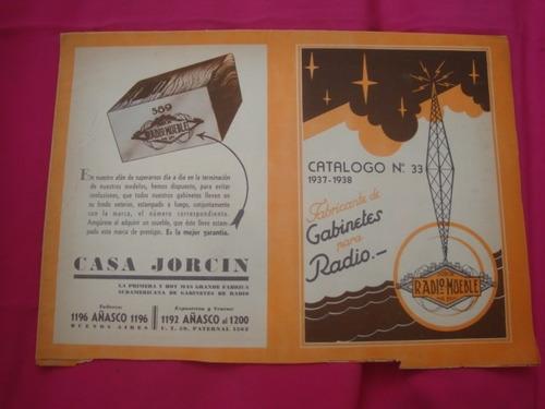 catalogo gabinetes para radio n°33 1937-1938 casa jorcin