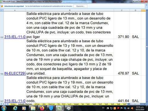 catalogo salidas electrica precio mano obra enero 2020