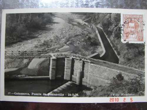 catamarca. puente de pomancillo 1938, antigua postal.