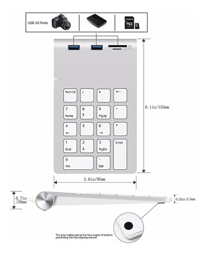 cateck teclado numerico numpad hub macbook pc usb 3 sd