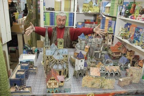 catedral gótica medieval modelo a escala rompecabezas 3d