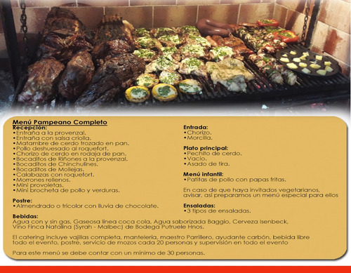 catering de asados, parrilla, eventos menu party pizza party