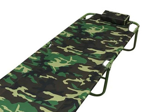 catre cama plegable diseño camping camuflado con almohadilla