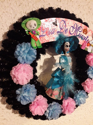 catrina artesanal dia de muertos papel mache azul
