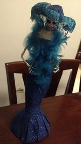 Catrina De Papel Maché Artesanal Vestido Azul De 40 Cm Alto