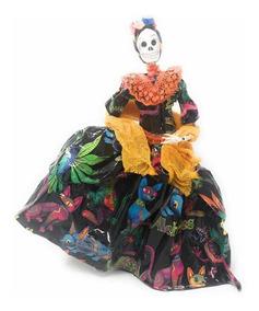 Catrina Mexicana De Papel Maché Vestido Alebrijes