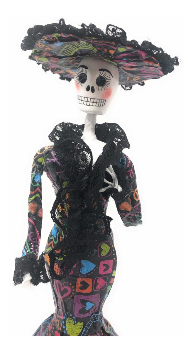 Catrina Mexicana De Papel Maché Vestido Corazones