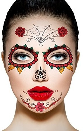 Catrina Tatuaje Temporal Disfraz Muertos Halloween Adorno 9500