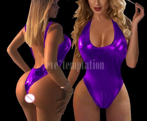 catsuit body sexy de pvc metálico de imitación cuero