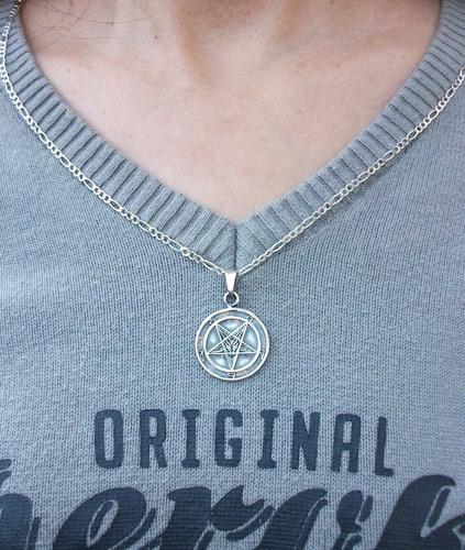 caucho y dije medalla sello bafomet símbolo baphomet plata