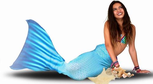 cauda de sereia blue, biquini completo e monofin !