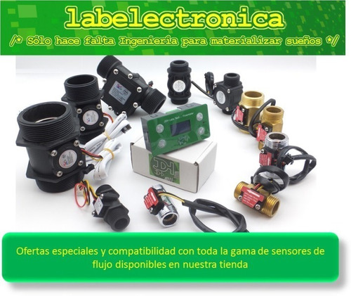 caudalimetro contador litros agua totalizador alarma + reset
