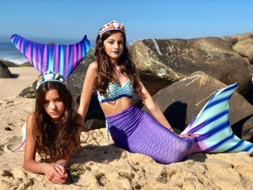 caudas de sereia aquamarine com biquini completo e monofin