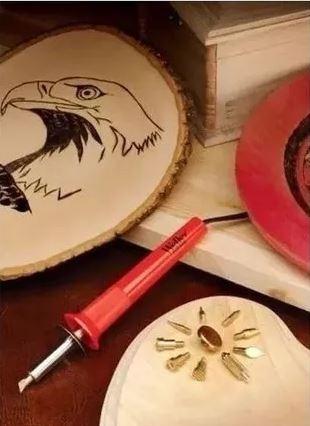 cautin madera pirograbador base + puntas + acuarelas