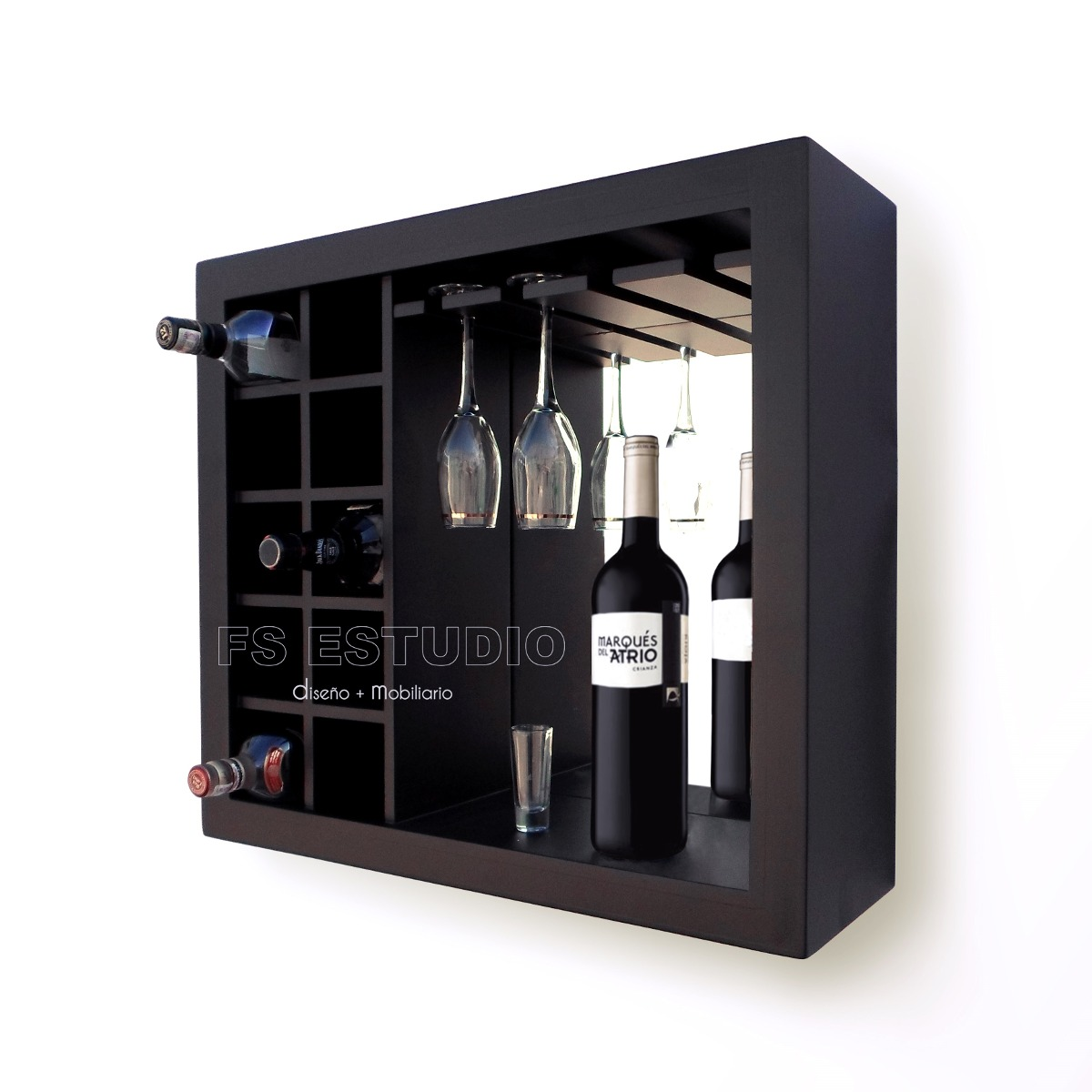 Cava cantina mueble contemporane para vinos copas de for Bar en madera para sala