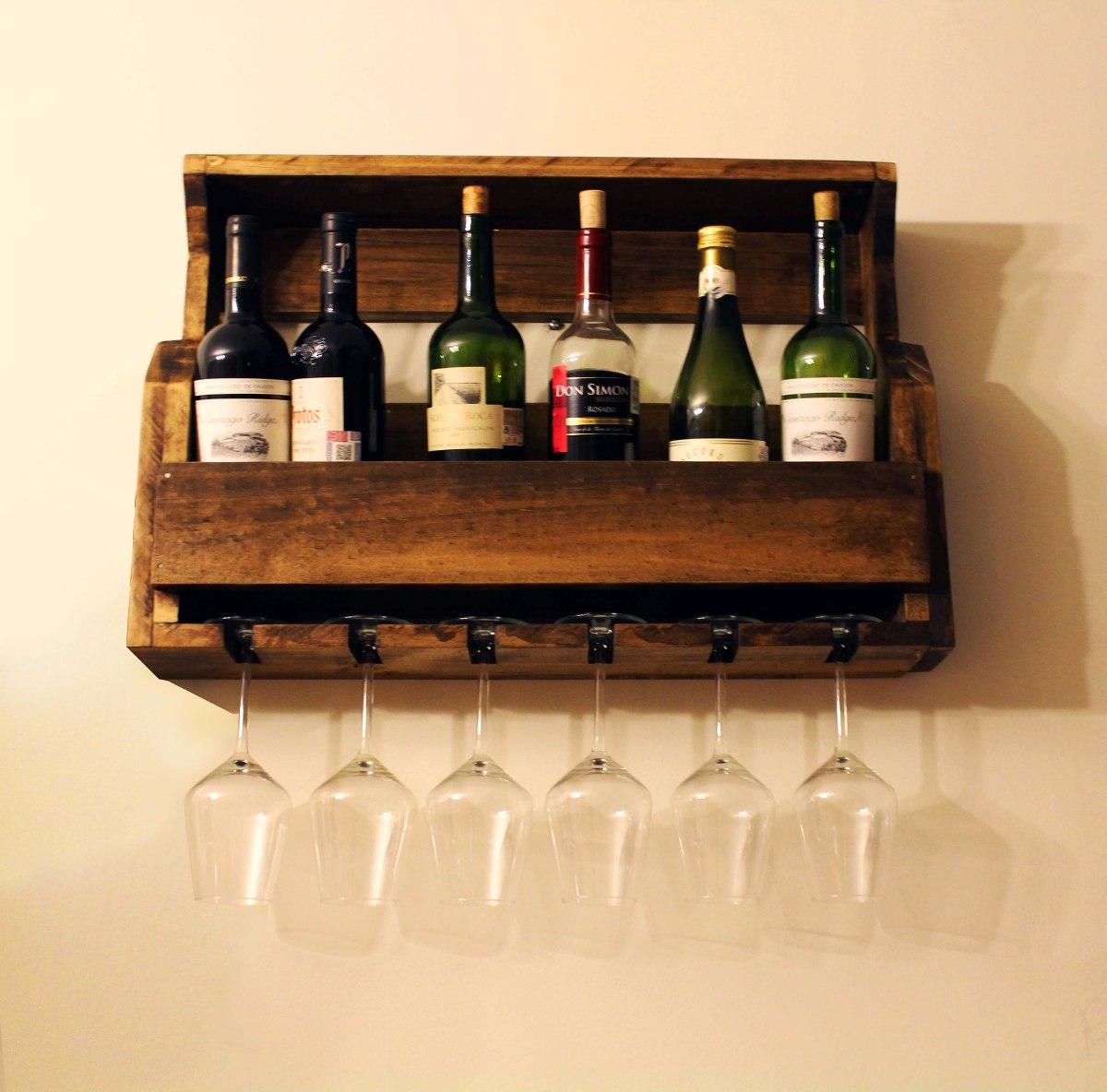 Cava de madera r stica 6 vinos y copas en mercado libre - Cavas de vino para casa ...