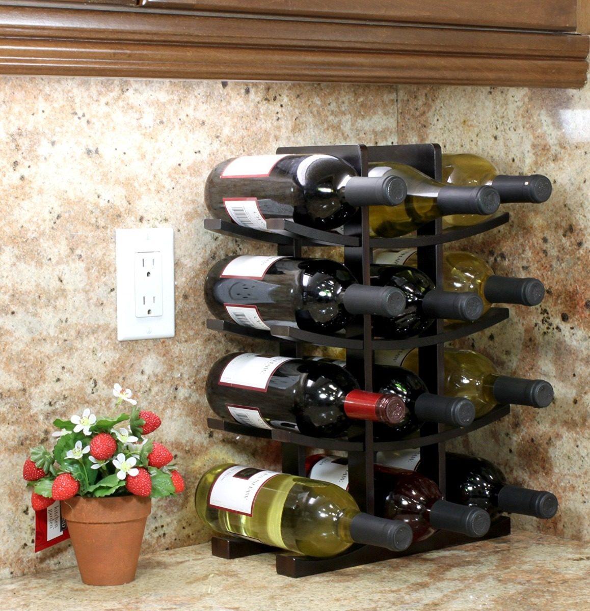 Cava Para Vinos, Estanteria Para 12 Botellas De Bambu Oscuro ...