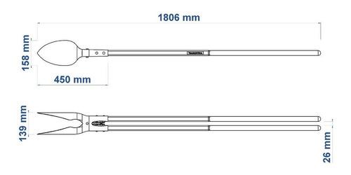cavadeira articulada, cabo de madeira 145 cm, com batente