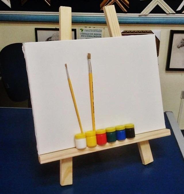 Cavalete de mesa kit de pintura infantil tela piceis - Pintura infantil pared ...