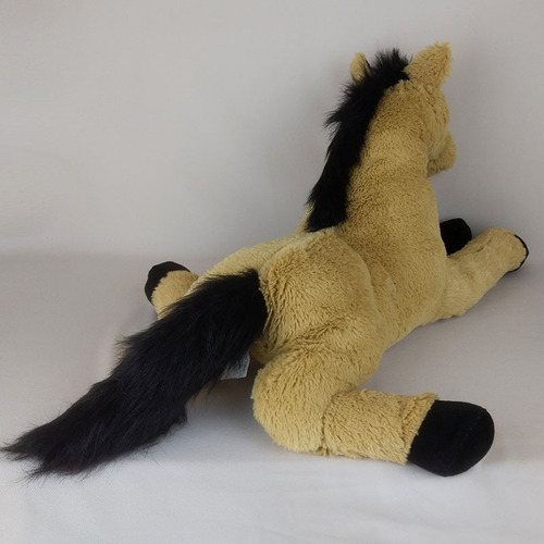 cavalo de pelúcia deitado caramelo 50cm