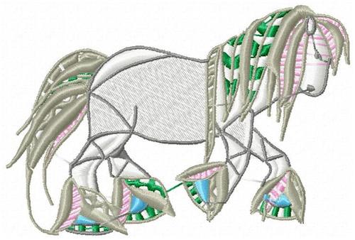 cavalos color - coleção de matriz de bordado