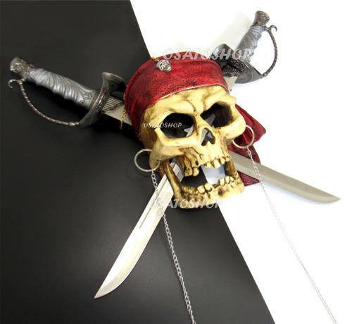 caveira crânio piratas do caribe com espadas removíveis.