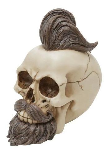 caveira decorativa resina hipster moustache preto 16cm skull