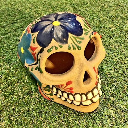 caveira mexicana pintada à mão original - varal