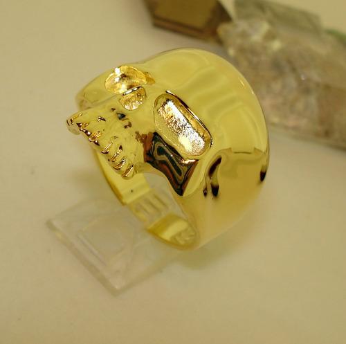 caveira ouro anel