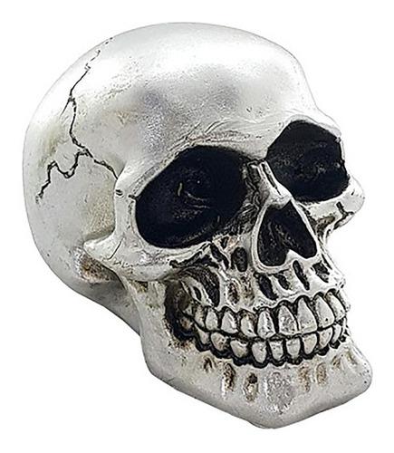 caveira resina prata cabeça skull 9cm silver head decorativa