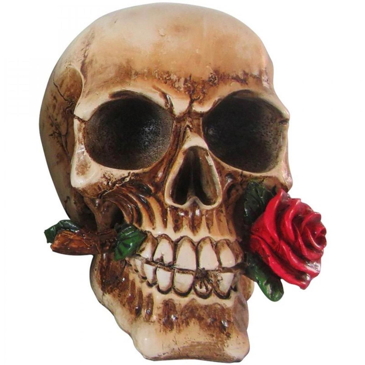 Caveira Resina Red Rose 14 ac2bc1cd3c6