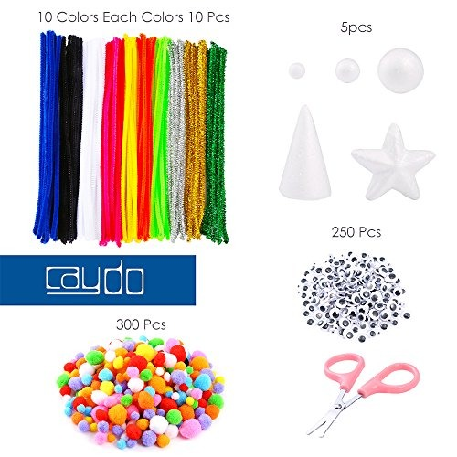 Including 100 Pieces Pipe Cleaners Pentagram and Scissor for Craft DIY Art Supplies Caydo 650 Pieces Pipe Cleaners Set Cone White Foam Balls 250 Pieces Wiggle Googlys Eyes 300 Pieces Pom Poms