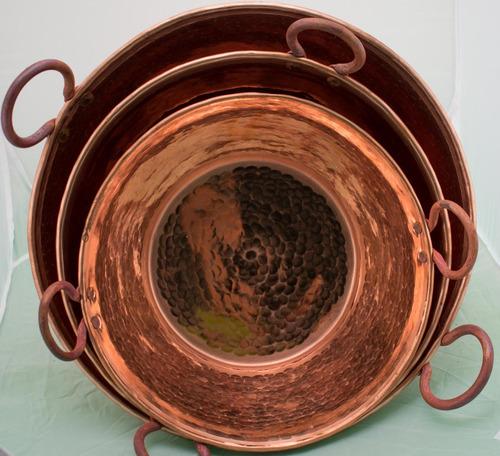 cazo de cobre artesanal grueso (cr) 30cm diametro
