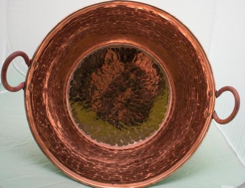cazo de cobre artesanal grueso(cr) 40cm diametro
