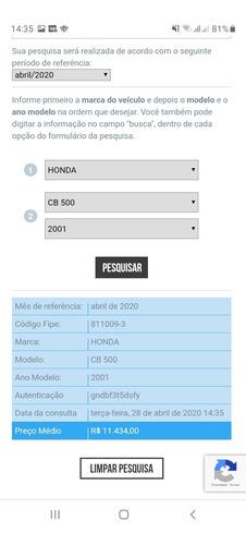 cb 500 honda ano 2001