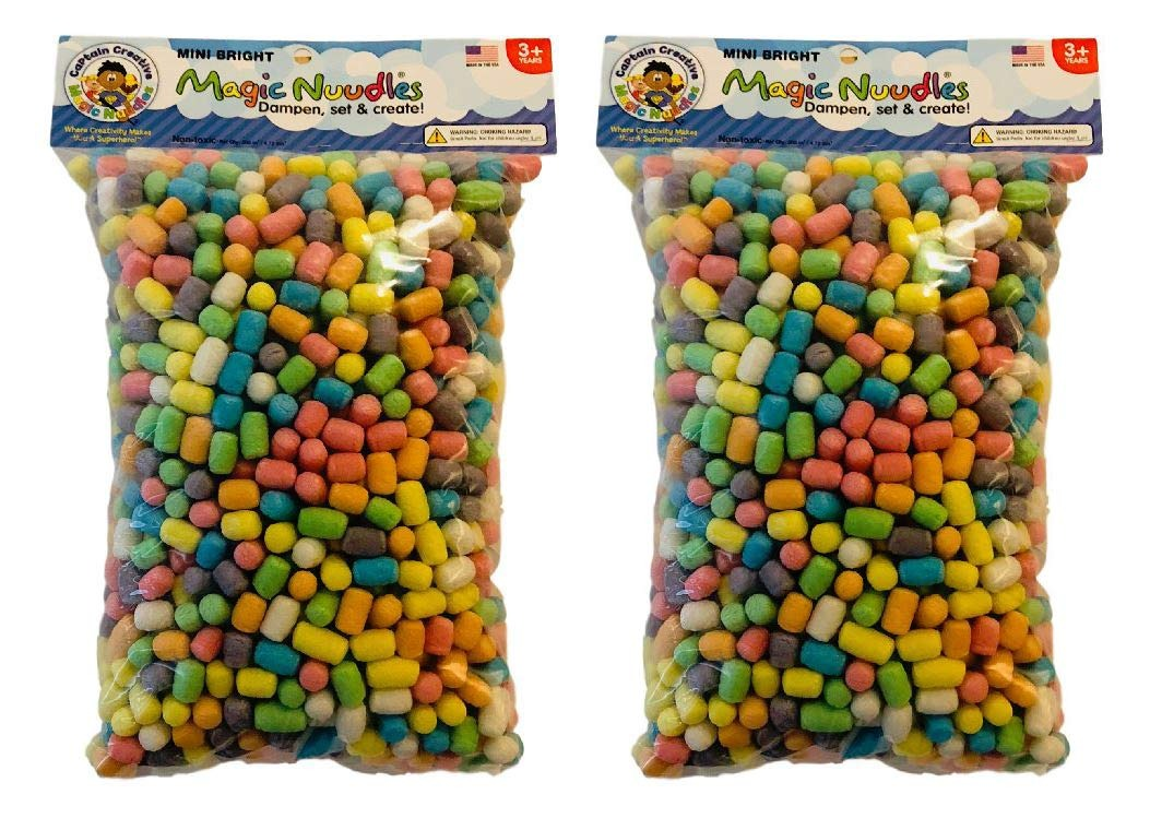 Mixed STEM Arts and Crafts Toy for Kids Decorate 2 Pack Biodegradable and Non-Toxic Create Medium Bag CAPTAIN CREATIVE CC50053 Bright Mini Magic Nodules Build
