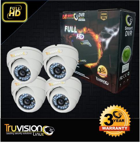 cctv kit 4 camaras seguridad hd power truvision