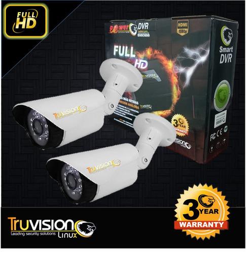 cctv kit 4 ch- 2 camaras seguridad ahd power truvision