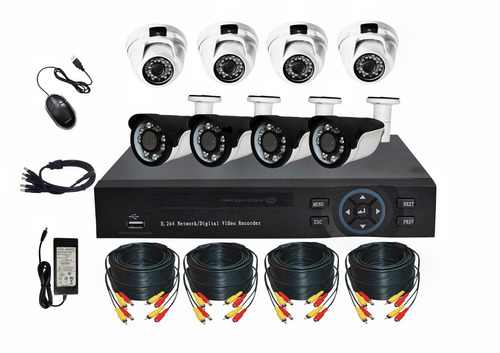 cctv kit de seguridad hd dvr 8 camaras 4 exterior 4 interior